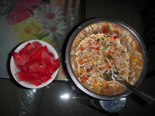 Watermelon and Bhel-an Indian snack